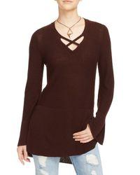 Free People | Brown Crisscross Sweater | Lyst