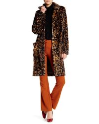 Free People   Orange Notch Lapel Retro Faux Fur Coat   Lyst