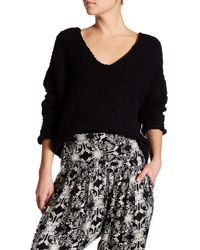 Free People | Black Dolphin Bay V-neck Sweater | Lyst