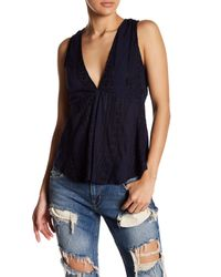 Free People | Blue V-neck Back Tie Tank | Lyst