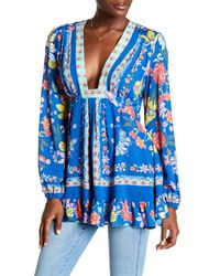 Free People - Blue Violet Hill Floral Printed Tunic - Lyst