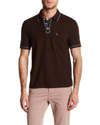 Original Penguin | Black Short Sleeve Slim Fit Contrast Trim Polo for Men | Lyst
