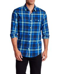 Original Penguin - Blue 'p55 Herringbone Plaid' Woven Shirt for Men - Lyst