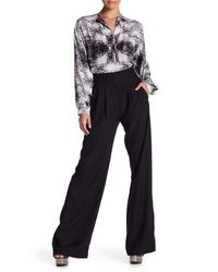 Parker - Black Solid Side Zip Pleated Flare Pant - Lyst
