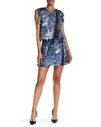 Parker | Blue Flutter Sleeve Smock Waist Dress | Lyst