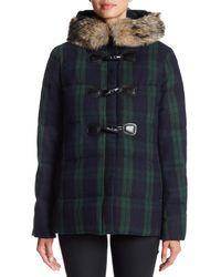Pendleton - Blue Newport Genuine Coyote Fur Trim Wool Blend Coat - Lyst