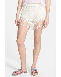 Mimi Chica | White Fringe Crochet Short | Lyst
