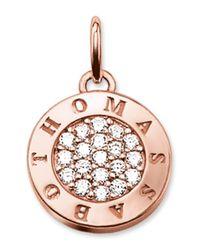Thomas Sabo - White Rose Gold Plated Cz Logo Pendant - Lyst