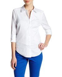 NYDJ | White Cross Dye Woven Blouse (petite) | Lyst