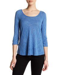 Bobeau | Blue 3/4 Sleeve Shirt (petite) | Lyst