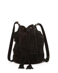 Raj - Black Multi-strap Suede Drawstring Bag - Lyst