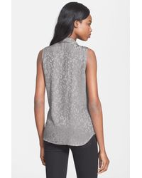 Equipment | Gray 'adalyn' Leopard Jacquard Sleeveless Silk Blouse | Lyst