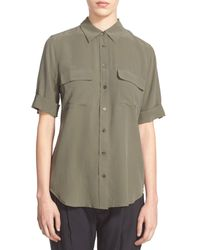 Equipment | Green 'slim Signature' Short Sleeve Silk Shirt | Lyst