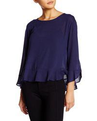 Everleigh | Blue Flutter Hem Bell Sleeve Shirt (petite) | Lyst