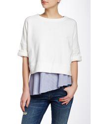 10 Crosby Derek Lam - White 2 In 1 Short Sleeve Sweatshirt - Lyst