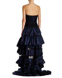 Oscar de la Renta - Blue Embellished Strapless Ruffle Gown - Lyst