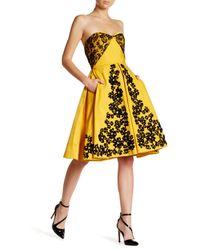 Oscar de la Renta | Yellow Strapless Lace Embellished Floral Dress | Lyst