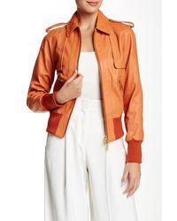 Rachel Zoe - Orange Jetta Genuine Leather Bomber Jacket - Lyst