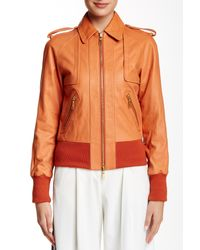 Rachel Zoe - Orange Jetta Genuine Leather Bomber Jacket - Lyst