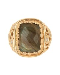 Melinda Maria - Metallic 14k Gold Plated Wally Labradorite & White Cz Ring - Size 8 - Lyst