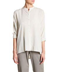Eileen Fisher | White Mandarin Collar Stripe Shirt | Lyst