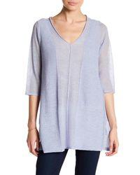 Eileen Fisher   Blue Wool V-neck Tunic   Lyst