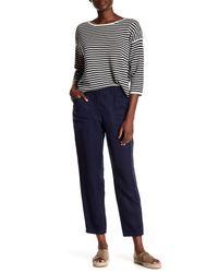 Eileen Fisher | Blue Tencel & Linen Crop Pant | Lyst