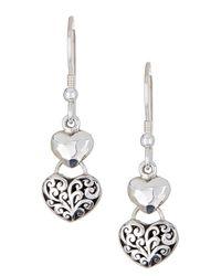 Lois Hill - Metallic Sterling Silver Double Heart Drop Earrings - Lyst