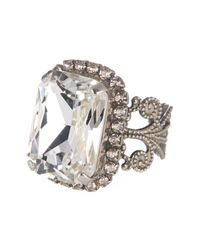 Sorrelli - Metallic Emerald Cut Crystal Filigree Ring - Lyst