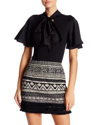 Romeo and Juliet Couture - Black Neck Tie Bodysuit - Lyst