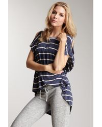 Romeo and Juliet Couture | Blue Open Shoulder Stripe Knit Top | Lyst