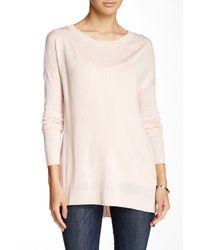 Valette - Pink Stepped Hem Scoop Neck Pullover - Lyst