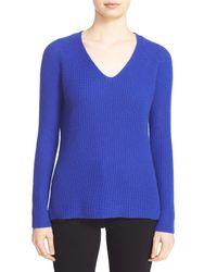 Autumn Cashmere | Blue Shaker Stitch Cashmere V-neck Sweater | Lyst