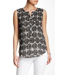 NYDJ - Black Stamped Polka Dot Print Sleeveless Blouse - Lyst