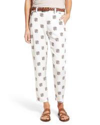 Splendid | White Belted Crop Print Pant | Lyst