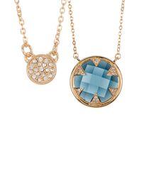 Melinda Maria | Tessa Blue Topaz & Cz Pendant Necklace Set | Lyst