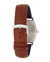 Brooks Brothers | Brown Men's Core Collection Round Analog Leather Strap Watch for Men | Lyst