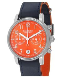 Brooks Brothers | Multicolor Men's Red Fleece Chronograph Leather Strap Watch for Men | Lyst