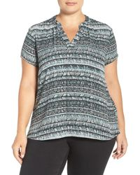 Sejour | Gray Split Neck Short Sleeve Blouse (plus Size) | Lyst