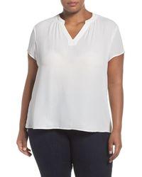Sejour | White Split Neck Short Sleeve Blouse (plus Size) | Lyst
