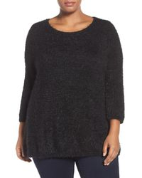 Sejour | Black Eyelash Knit Sweater (plus Size) | Lyst