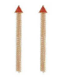 Steve Madden | Metallic Carnelian Triangle Fringe Earrings | Lyst