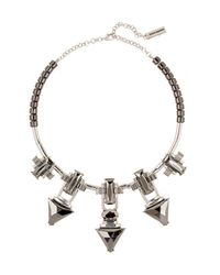 Steve Madden - Metallic Faceted Hematite Stone Station Necklace - Lyst