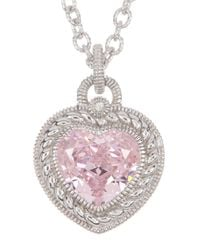 Judith Ripka - Sterling Silver Heart Cut Pink Crystal & White Sapphire Pendant Necklace - Lyst