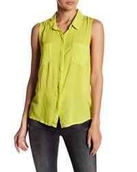 Splendid | Yellow Sleeveless Button Front Shirt | Lyst