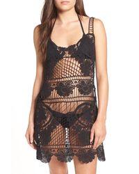 For Love & Lemons | Black Maldives Crochet Lace Cover-up Slipdress | Lyst