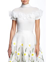 Gracia | White Ruffle Trimmed Short Sleeve Tee | Lyst