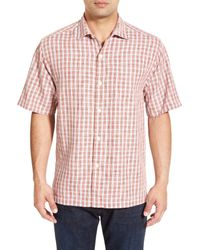 Tommy Bahama   Pink Verdara Check Original Fit Short Sleeve Silk Sport Shirt for Men   Lyst