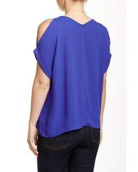 Lush | Blue Cold Shoulder Blouse | Lyst