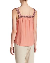Blu Pepper - Pink Sleeveless Embroidered Woven Tank - Lyst